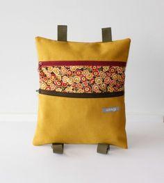 Mochila Backpack Rucksack hecho a mano tela loneta canvas algodon cotton estampados calidad elegante color accesorios complementos Lolahn Handmade - Margaritas mostaza 1