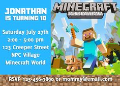 DIY Minecraft Birthday Invitation - Digital You Print