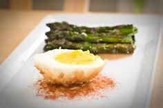 Panko-Crusted egg with cherry smoked asparagus
