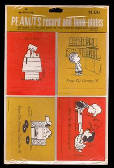 Vintage 70's Peanuts Bookplates Stickers Record Labels NIP Hallmark Snoopy Linus Lucy Schroeder. $40.00, via Etsy.