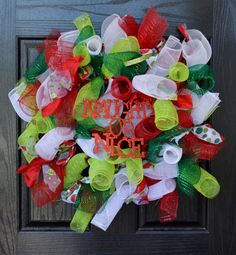 Whimsical Naughty or Nice Christmas Holiday by WelcomeHomeWreath, $55.00