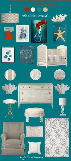 little mermaid nursery! Some of these items are beautiful! You will love this too @Courtney Meister !!!