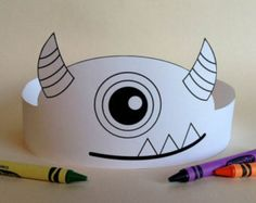 Print, color, cut & glue your crown together & adjust to fit.- Print, color, cut & glue your crown together & adjust to fit anyones head! Monster University Crafts, Monster Crafts, Monster Party, Monster Theme Classroom, Crown Printable, Paper Crowns, Halloween Crafts For Kids, Foam Crafts, Printables