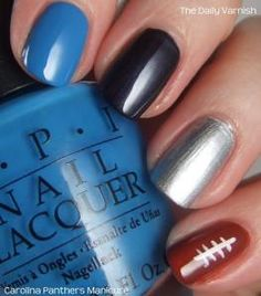 I decided over winter break that I needed to pick a football team, so now I am just an avid Carolina Panthers fan<3 Carolina Panthers Manicure