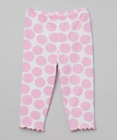 Another great find on #zulily! Light Pink Jumbo Dot Capri Pants - Toddler & Girls by Tutu & Lilli #zulilyfinds