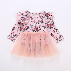 e21b29f1c59 Aliexpress.com   Buy Newborn Baby Girls Infant Dress Long Sleeve Floral  Party Birthday Clothing Toddler One Piece Romper Tutu Dresses Clothes  Outfits from ...