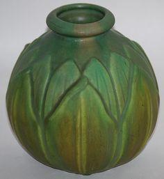 Roseville Pottery Early Velmoss Vase 125-6 from Just Art Pottery
