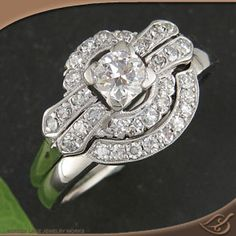 My Custom Jewelry Design at Green Lake Jewelry Works- Custom carved wedding band to go with antique style engagement ring