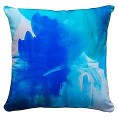 Indulge your artistic side with a coastal wash of colour in the eco-friendly Wash Over Me Cushion from Jenniferlia in your home.