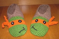 Crochet TMNT slippers - Michelangelo