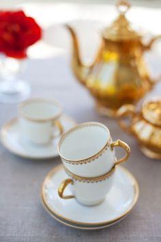White and gold tea set