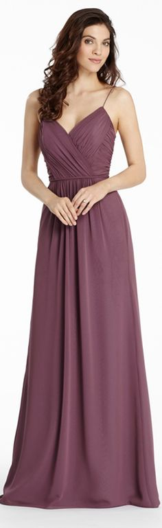 Spaghetti #Straps V Neck Pleated Bodice Long Chiffon #Bridesmaid Dress