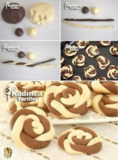 Wind Rose Cookies Recipe, How To? Rose Cookies, Biscuit Cookies, Yummy Cookies, Baking Recipes, Cookie Recipes, Dessert Recipes, Food Decoration, Christmas Desserts, Creative Food