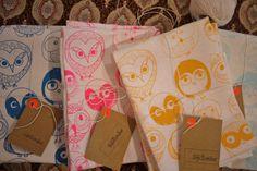 MOCHO Owl Printed Teatowel Neon Pink by SeptemberDesign on Etsy