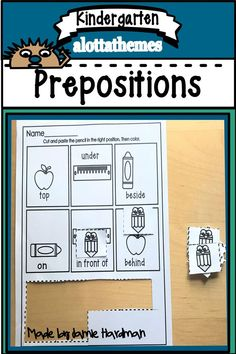 This product aims to teach 5 prepositions including top behind beside in front and under through the use of hands on printables. Alphabet Activities, Language Activities, Motor Activities, Educational Activities, Kindergarten Classroom, Kindergarten Activities, Classroom Ideas, Prepositions, School Themes
