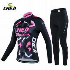 Autumn Gril Racing Cycling Jersey Set Breathable 3D Padded Tights Pants Mountain Bicycle Jerseys Clothing Sport Wear Women