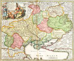 Карта України за авторством Іоганна Баптиста Гоманна, 1716 рік. Цікаво, що на картуші вказано латинизовану назву – VKRANIA, а на самій карті написано сучасний варіант – Ukraina.