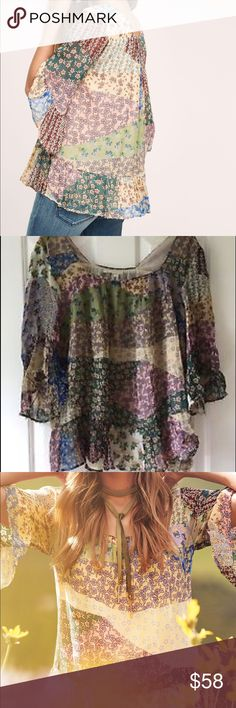 Floreat Anthropologie Patchwork Peasant Top Adorable! Floreat anthro top with multicolored patchwork motif and beaded trim Anthropologie Tops Blouses