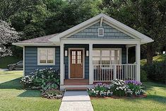 This well-designed tiny ranch home (Plan #177-1054) has 624 square feet of living space. The 1-story floor plan includes 1 bedroom and an open floor plan. #ranch #houseplan