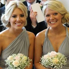 Mollie King of The Saturdays in a Two Birds Bridesmaid platinum infinity bridesmaid dress!