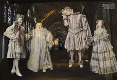 The Ghosts, From left to right: Terence Baylor as the Bloody Baron, Simon Fisher-Becker as the Fat Friar, John Cleese as Nearly Headless Nick, and Nina Young as the Grey Lady. Photographed by Annie Leibovitz for Vanity Fair October 2001 Harry Potter Ghosts, Harry Potter Books, Harry Potter Love, Harry Potter Universal, Harry Potter World, Hogwarts, Annie Leibovitz, Daniel Radcliffe, Percy Jackson