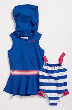 Bold stripes ignite a dazzling swimsuit paired with a hooded cover-up for a beach-friendly outfit.  Swimsuit is nylon/elastane; cover-up is cotton/spandex; machine wash.  By Juicy Couture; imported.  Kids' Wear. #mommy #splurge at $98.00