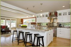 Kitchen Designs. Beautiful Large Open Space Kitchen with Elegant Island Design Ideas. Cool