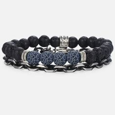 Underlined by a crackle effect in taking inspiration from the electrifying powers of lightning, the natural stone beads featured in the design of this bracelet set hold with them a deeply masculine energy. Further accented with metal chain link components and braided leather rope, the bracelets represent the multifaceted nature of man.  FREE Shipping Worldwide.