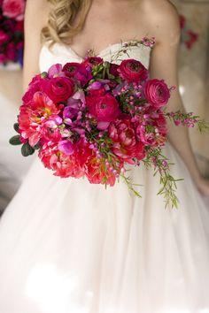 Lush Pink Bridal Bouquet {Cakes & Kisses} - mazelmoments.com