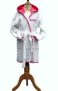 #Personalised girls children's/kids #bathrobe,white/pink, #terry towelling,turkis,  View more on the LINK: http://www.zeppy.io/product/gb/2/182273110252/