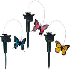 SOLAR POWERED FLUTTERING BUTTERFLY FLOWERS ORNAMENT COLOURFUL GARDEN DECORATION