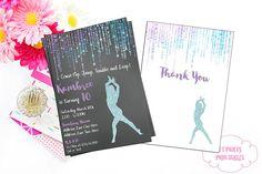 Gymnastics Digital Invitation  Aqua and Purple Invite