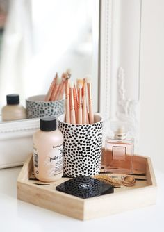 home accessory home decor wood tray cosmetics bathroom perfume polka dots animal print makeup brushes blogger