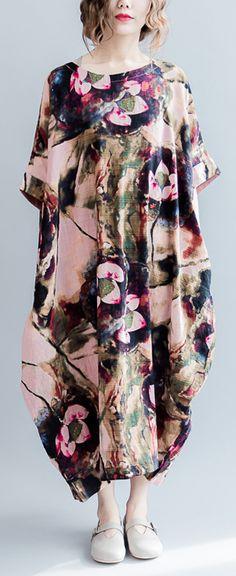 top-quality-pink-prints-linen-dresses-casual-o-neck-linen-maxi-dress-top-quality-short-sleeve-linen-caftans