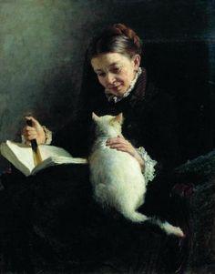 Portrait of a Lady with a Cat, Yaroshenko Nicholas Aleksandrovich. Russian (1846-1898) {Run kitty, RUN!}