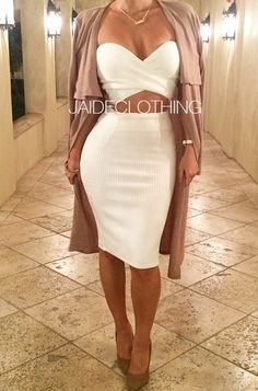 2 piece white dress set 401