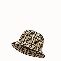 Fendi Online Store, Raffia Hat, Pink Fox, Elastic Hair Bands, Hat Making, How To Make Bows, Leather Gloves, Bucket Hat, Hand Weaving