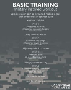 Basic Training: Military Inspired Workout - This no-equipment 45-minute workout will have you burning calories like a boss! ~ Re-Pinned by Crossed Irons Fitness