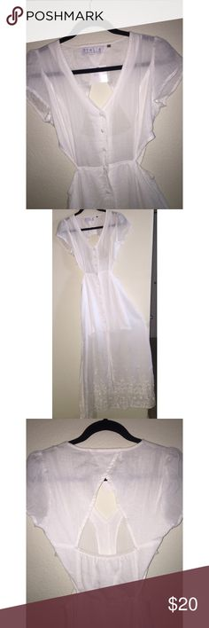 Stella Laguna Beach Linen Cutout Maxi Perfect white linen summer maxi with cute side and back cutouts. Buttons down front stop mid-thigh letting dress open and flow as you walk. Light non-stretch material with extra lining on skirt. Beautiful white embroidery around bottom. Sweet cap sleeves for that extra feminine touch. Top is unlined but wears well with nude bra or even a cute lace bralette. A truly one of a kind summer maxi. Never worn. Stella Laguna Beach Dresses Maxi