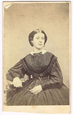 Young Lady in Charlestown Massachusetts by Bryant 1860's CDV |civil war era fashion