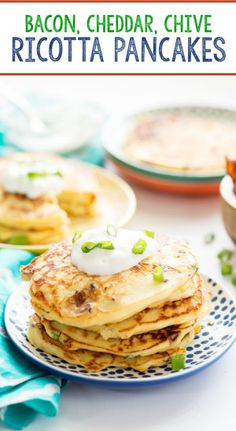 Savory bacon, cheese, and chive ricotta pancakes