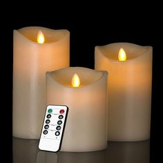HEIOKEY Electronic LED Candle Set of 3 4 5 6 Real Wax Moving Wickess LED Flameless Candles Pillar Lights Battery Operated with Timer and Remote Control for Gifts and DecorationIvory Color ** See this great product.