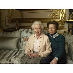 Queen Elizabeth with her only daughter Princess Anne, the Princess Royal.