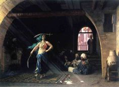 Jean-Leon Gerome ( Fench Painter , 1824 – 1904)  –  Sabre Dance in a Cafe. An Orientalist painting from the nineteenth century.