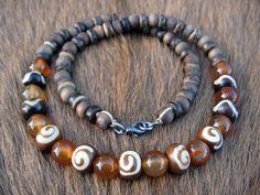 Mens necklace carnelian bone coconut and wood by thehappymushroom, £13.50