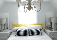 Small Cottage Bedroom with Shell Adorned Chandelier: http://beachblissliving.com/small-cottage-living/
