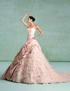 Love pink wedding dresses.