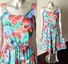 VTG 70s Hawaiian Floral Wiggle Blouson Swing Midi Cotton Summer Tea Dress