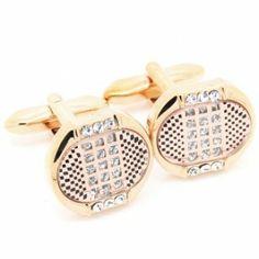 Gold Crystal Round Cufflinks