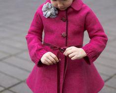 Felted raspberry spring coat for girls (Handmade to Order)